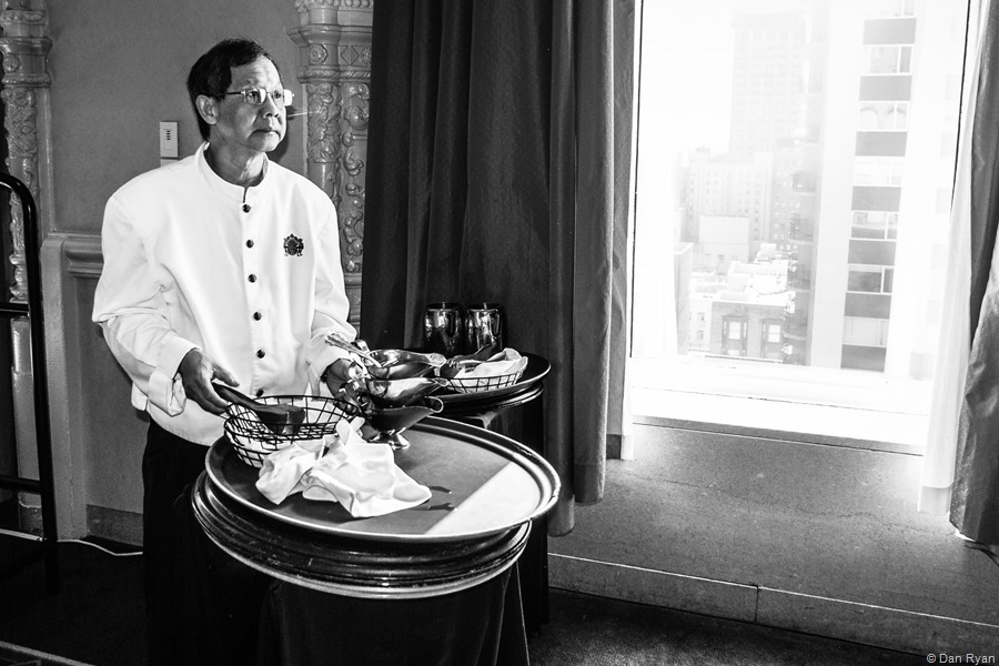 Food server, Mark Hopkins Hotel, San Francisco, California 2017 (Story: