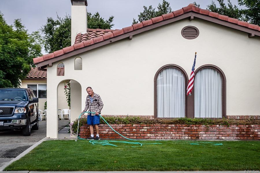 Lawn care on Cienega Road... Hollister, California, June 2021